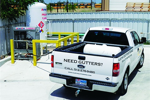 Austin Gutter King operates four trucks fueled by propane autogas, comprising 25 percent of his service fleet.