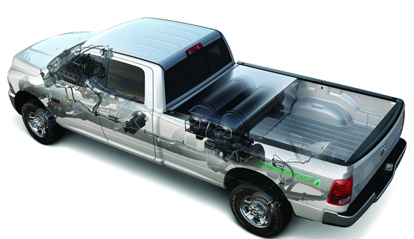 The Ram 2500 HD's CNG is stored in two 18.2 gasoline-gallon-equivalent tanks in the pickup bed.