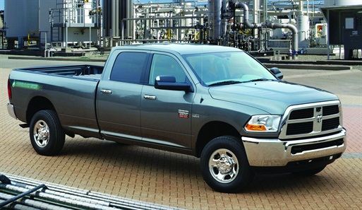 The CNG-only range of the Ram 2500 CNG pickup is 255 miles.The gasoline backup extends the range to367 miles.