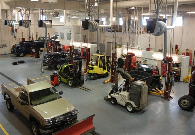 The new facility has nine light-duty repair bays.