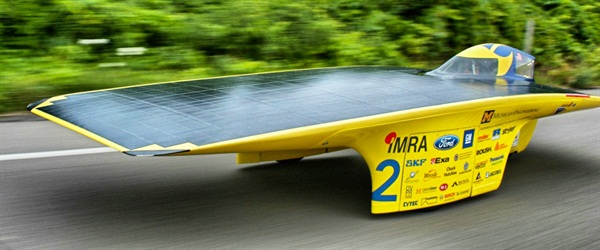 The University of Michigan Solar Car Team will bring its national championship model, Quantum. Photo credit: Diane Thach