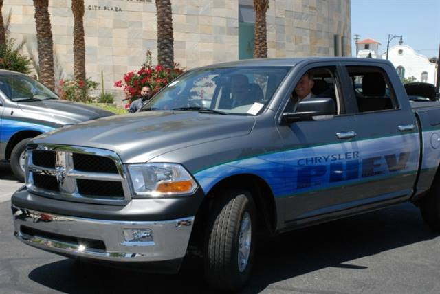 Yuma Mayor Al Krieger drives the first of a demonstration fleet of Ram 1500 PHEV pickup trucks.