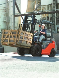 According to Toyota Material Handling's marketing manager, internal combustion, pneumatic trucks are popular among government purchases, such as this 8FGU25 forklift.