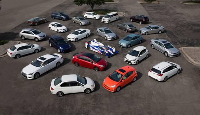 Toyota's global fleet of 23 hybrid vehicles.Photo courtesy Toyota Motor Corp.