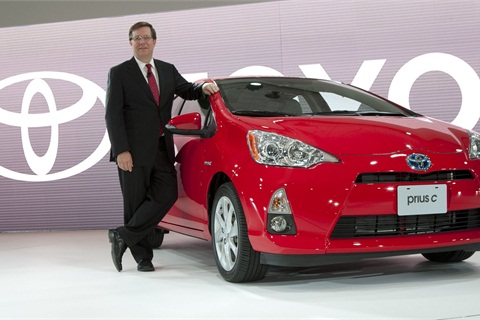 Toyota Motor Sales President & COO Jim Lentz introduces the Prius c at the North American International Auto Show in Detroit on Jan. 10, 2012. Photo courtesy Joe Polimeni.