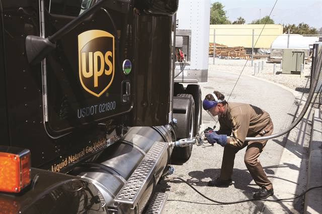 A delivery truck driver of one of UPS' 96,176 vehicles worldwide — including delivery trucks, vans, tractors, and motorcycles — fuels a tractor with liquefied natural gas (LNG).