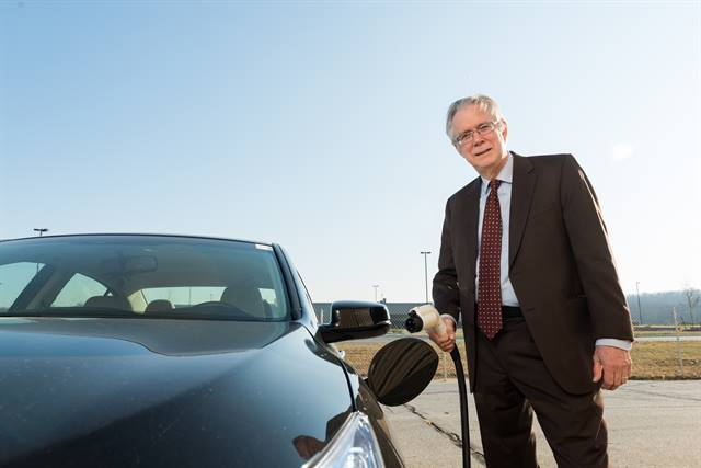 Willett Kempton, Director of the University of Delaware's Center for Carbon-Free Power Integration, shown with a 2014 Honda Accord Plug-in Hybrid Vehicle. Photo courtesy of Honda.