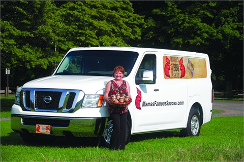 """Valecia Vanderlick is able to load a full pallet of """"Mama's Famous Barbecue Sauce"""" into her Nissan NV. """"You would never know you're in a commercial vehicle,"""" she said about the Nissan NV."""