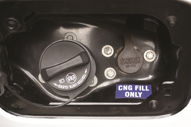 On Venchurs truck, the CNG and gasoline fuel fills sit side by side.