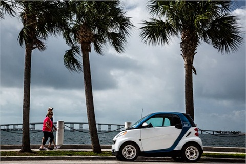 A car2go vehicle sits in Miami.
