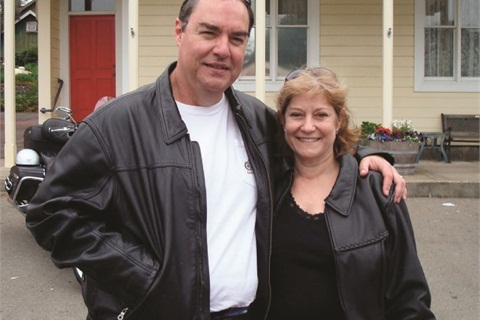 Dave and Michelle Head are pictured during a charity motorcycle ride.