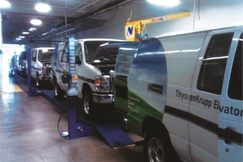 Propane autogas-powered vehicles roll off the assembly line headed directly for ThyssenKrupp's North American headquarters in Alpharetta, Ga. The company's 3,150 U.S.-based vehicles consist of light-duty vans, pickup trucks, medium-duty vehicles, and conventional automobiles.