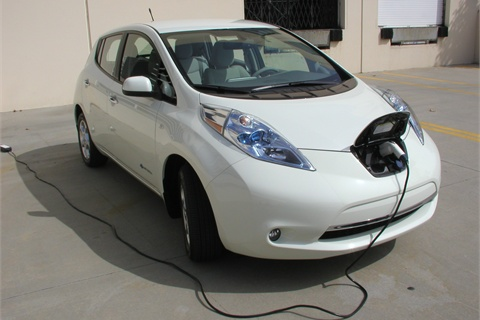 "The Leaf comes with two types of charging outlets, one for the Level 2 (220/240-volts) and another, on the left, is an outlet for the ""DC Fast Charger,"" or Level 3 outlet than can charge in about 25 minutes using 480-volts or more."