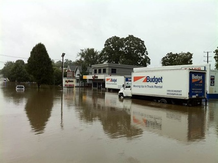 Dollar Rent-A-Car's main headquarters in Morristown, N.J. faced the harsh consequences of Hurricane Irene, submerged under more than five feet of flood water. Photos by Jennifer Romanowski.