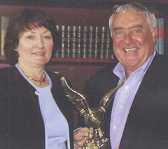 Josie Sharp, winner of the 2003 Professional Fleet Manager of the Year Award, with AF publisher Ed Bobit.