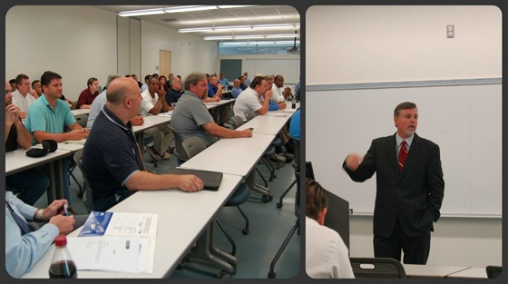 Cerritos College's SCCT center hosted 45 fleet professionals at a MEMA meeting and vehicle and equipment showcase. Joe Healey, CEO of FASTER Asset Solutions, gave an animated keynote presentation about developing leadership skills needed for fleet management.