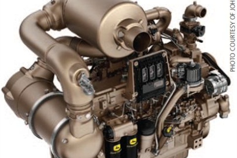 John Deere's Final Tier 4 engine with its Integrated Emissions Control system is an after-treatment solutions paired with an interim Tier 4 engine platform, featuring cooled exhaust gas recirculation (EGR). Graphic courtesy of John Deere.