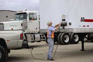 Trained technicians are sent to inspect and record any issues with tire pressures, tread depth, trailer lights, wheel seals, air valves, air lines on the trailer's suspension and braking system, and even reflective tape and mudflaps.