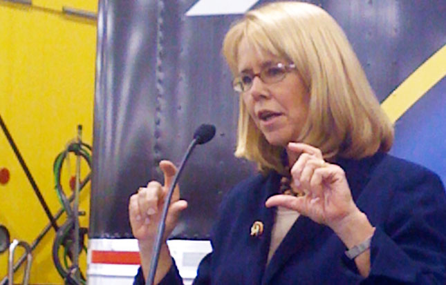 FMCSA Administrator Anne Ferro speaks during the Operation Safe Driver kick-off event at American Trucking Associations convention. (Photo by Deborah Lockridge)