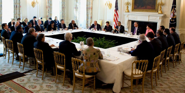 President Obama holds a meeting with Cabinet secretaries, former secretaries of transportation and mayors and governors on infrastructure investment Monday at the White House.