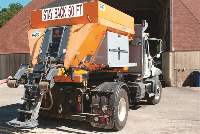 Pictured is a bulk spreader used by theCity of Cuyahoga Falls, Ohio. Photo courtesy of Epoke
