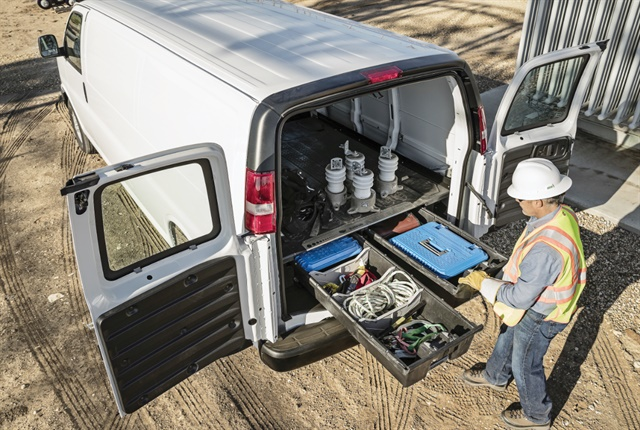 Slide-out drawers allow plenty of organized space for tools and materials while keeping the body of the vehicle open for larger items. Photo: DECKED