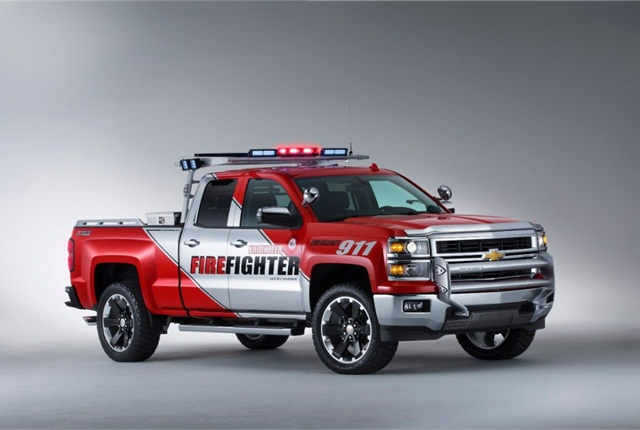 The SEMA concept Volunteer Firefighters Chevrolet Silverado Double Cab, equipped with the Z71 off-road suspension, was developed with the National Volunteer Fire Council. Photo courtesy of General Motors.