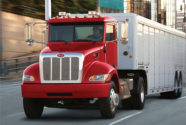 Peterbilt:Peterbilt Motors has four midrange conventional-cab models powered by Cummins-built medium- and medium-heavy diesels with Eaton and Allison transmissions. Model 325 and 330 trucks use the Paccar PX-7 (Cummins' ISB6.7, formerly called PX-6). Model 337 (shown) can edge into the Class 8 category with heavier axles and the PX-9 (ISL8.9) diesel, but is primarily a Class 7 model that uses the PX-7.