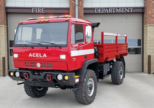 With 47-inch tires, 23 inches of ground clearance, an all-wheel-drive drivetrain, waterproof alternator, and starter and proprietary fording kit, Acela's specialized flood rescue variants are capable of fording 50 inches of water. (Photo courtesy of Acela Truck)
