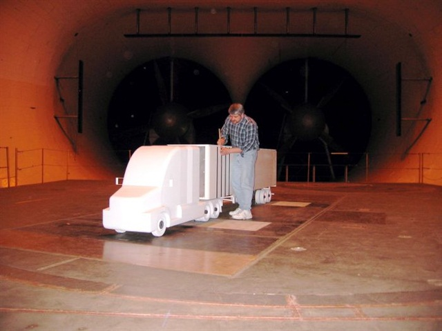 One of the new testing methods allowed for EPA SmartWay verification is wind tunnel testing. Here a scale model is prepped carefully before the test; small irregularities can make a big difference in the outcome.