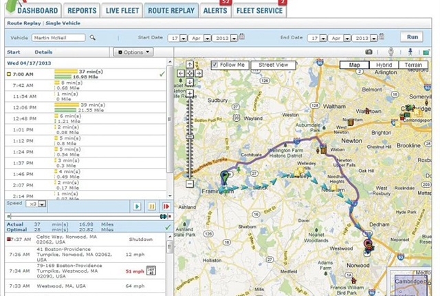 Screenshot courtesy of Fleetmatics.