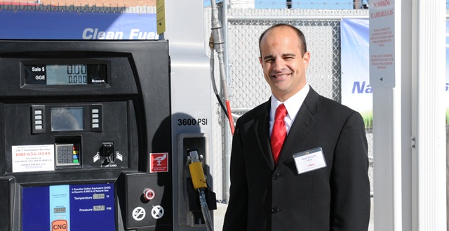 Martin Ozinga IV, president of Ozinga Energy, opens the new public CNG station at 200 Jarvis Ave. in Des Plaines, Ill. Photo: Jim Park