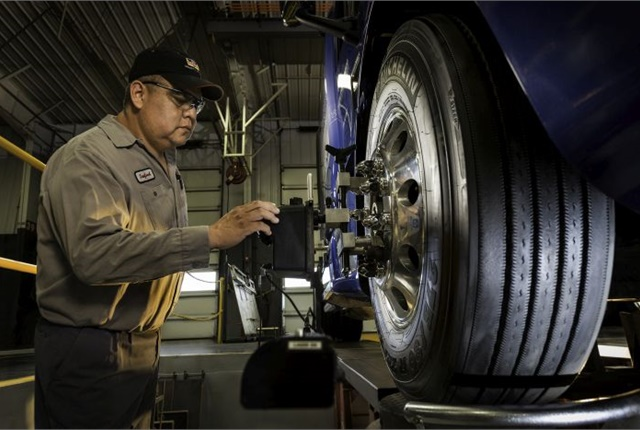 Many fleets dread the downtime. But according to Rush Truck Centers, front-end alignments can be done in as little as 90 minutes.Photo: Rush Truck Centers