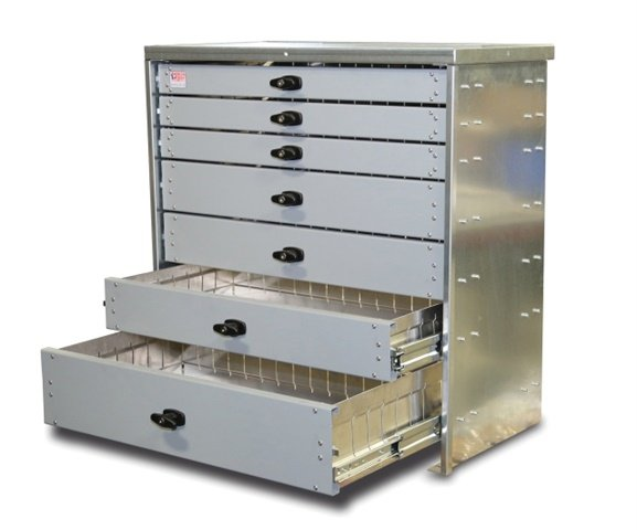 Custom fit to specific vehicle models, the heavy-duty aluminum drawers from American Eagle provide ease of access and storage for tools and supplies. (Photo: American Eagle)