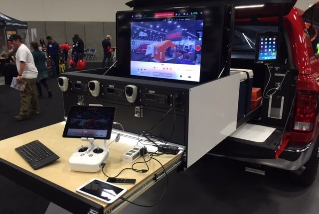 This command vehicle from the City of Anaheim (Calif.) Fire & Rescue Dept., has a 42-inch video monitor to show video footage from the UAS. Photo courtesy of Anaheim Fire & Rescue