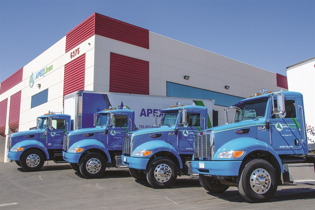 Apex Linen Services of Las Vegas runs Peterbilt 337 tractors to deliver to Las Vegas hotels and casinos. Owing to its 24/7 operation, Joe Dramise, president, uses a mobile maintenance plan through an arrangement with Peterbilt of Las Vegas. This PacLease franchise has been known to send a second-shift mechanic to Apex's headquarters to satisfy early morning rollouts.