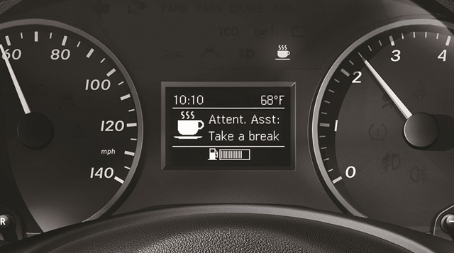 Many of today's safety features are organized for the driver within the dashboard control panel display. The Mercedes-Benz Metris Attention Assist feature, standard on all Metris vans, helps prevent drowsy driving using a highly sensitive sensor that monitors and records steering movement and speed. Photo courtesy of Mercedes-Benz.