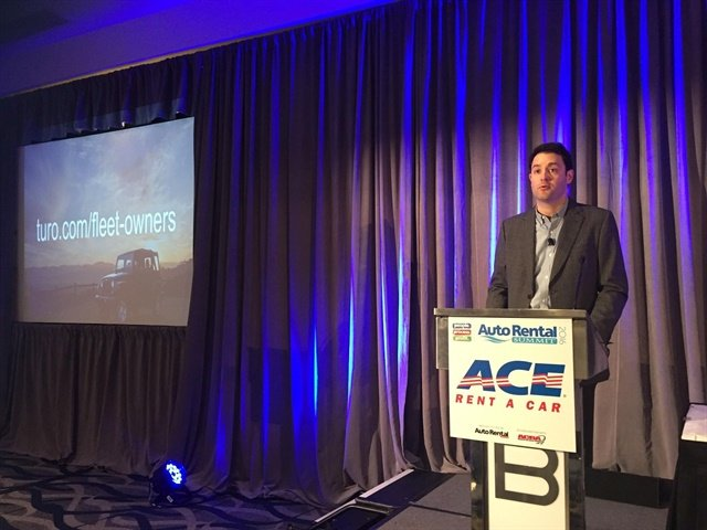 David Stewart, chief business officer of Turo, makes the announcement at the 2016 Auto Rental Summit.