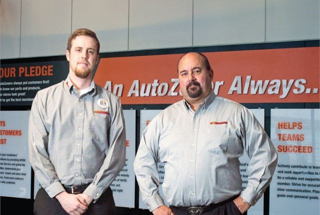 (Left to right) Alexander Sikes, fleet coordinator at AutoZone, and Clay Gaudet, fleet manager at AutoZone. Photo courtesy of Brandon Dill.