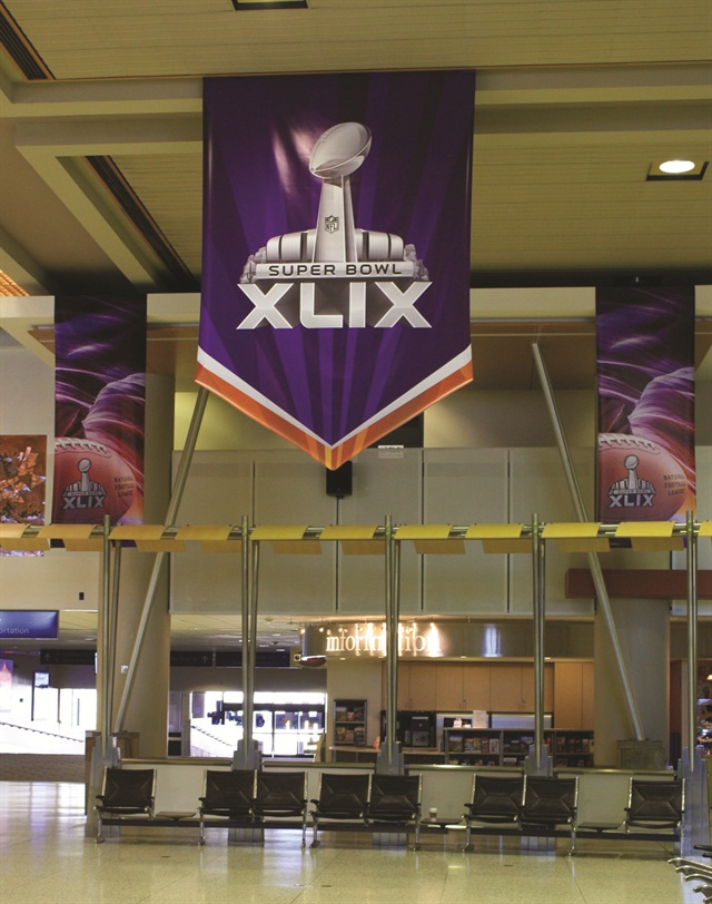 Super Bowl XLIX banners decorated Phoenix Sky Harbor Airport. Photo courtesy of City of Phoenix - Aviation Department.