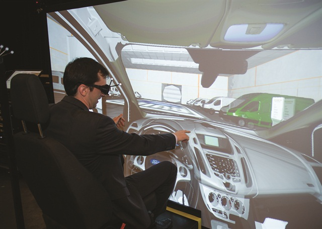 Attendees experienced a 3-D virtual showroom of Ford's future commercial truck products.