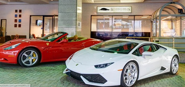 A Ferrari and a Lamborghini await rental at Beverly Hills Rent-A-Car's San Francisco office. Photo courtesy of Beverly Hills Rent-A-Car.