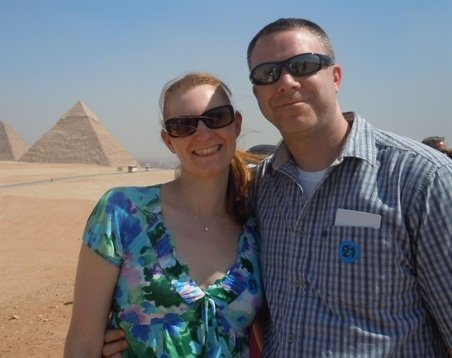 Bill and Jessica Griffiths are pictured on a trip to Egypt during their honeymoon.
