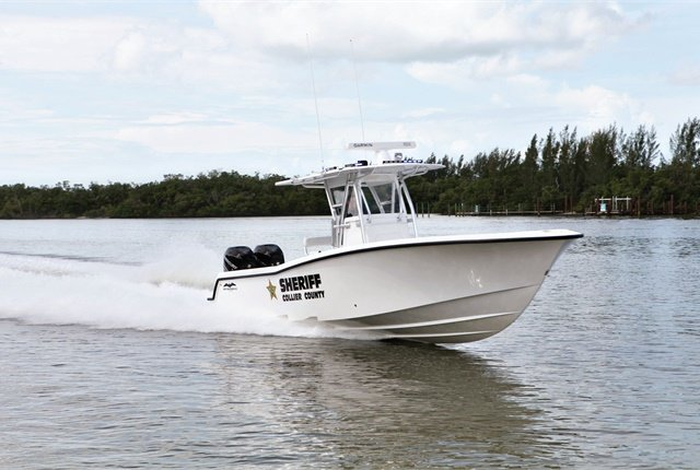 The Collier County (Fla.) Sheriff's Office has found that standardizing boat engines with those of on-road vehicles makes maintenance easier. Photo courtesy of Collier County Sheriff