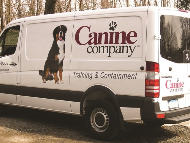 Instead of paying for a full vehicle wrap, Canine Company decided to add vinyl decals to its Sprinter van. Vinyl decals still provide eye-catching visuals on a vehicle while saving about 80% on overall cost, says Joel Johnson of Signazon. Photo courtesy of Canine Company.