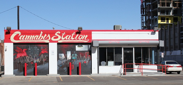 Cannabis station, a medical marijuana dispensary, is located at the site of a former gas station in Denver. Photo by Jeffrey Beall via Flickr through Creative Commons license.