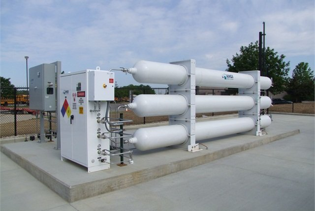 Pictured is a 35,000 scf, 5,500 PSIG tube type storage for a CNG fuel station.Photo courtesy of Marathon Corporation.