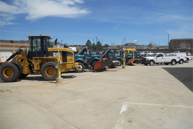 The Town of Castle Rock, Colo., services and repairs a wide variety of vehicles and equipment, from police interceptors to plow trucks and heavy equipment such as front end loaders and a motor grader. Photo courtesy of town of Castle Rock.