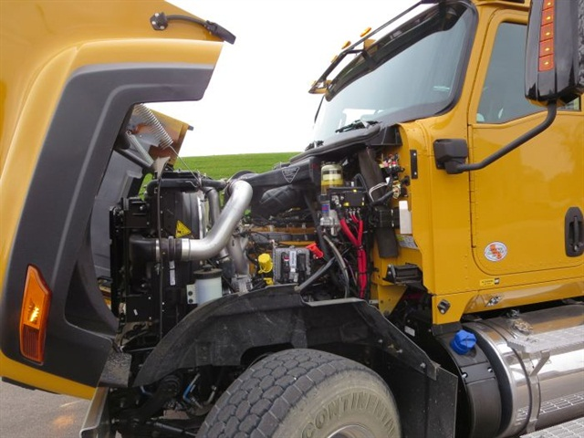 The 430-hp Cat CT13 (aka Navistar N13) diesel is painted Cat yellow, and works well with the optional Cat CX31 automatic transmission.