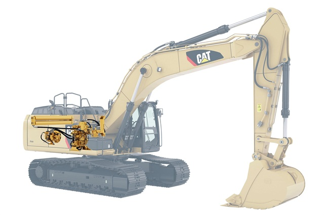 The Caterpillar 336E H hydraulic hybrid excavator uses an electronic standardized programmable (ESP) pump, adaptive control system (ACS) valve, and accumulator to reduce fuel use. Image courtesy of Caterpillar.